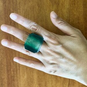 Vintage Green Square Lucite Ring